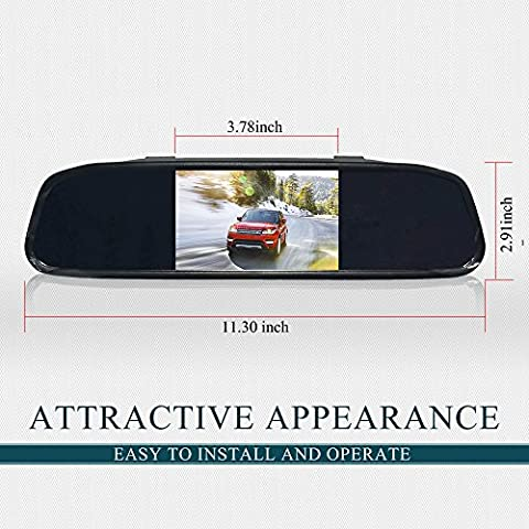 Auto Safety 4.3 Inch 16:9 Screen Monitor High Resolution Color TFT Car LCD Screen Rearview Mirror Monitor Reversing Mirror Car Monitor for DVD Camera VCR DC