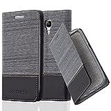 Cadorabo Hülle für Samsung Galaxy S4 Mini - Hülle in GRAU SCHWARZ – Handyhülle mit Standfunktion und Kartenfach im Stoff Design - Case Cover Schutzhülle Etui Tasche Book