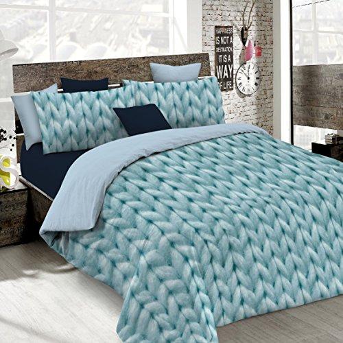 Italian bed linen sogni e capricci parure copripiumino con stampa digitale a copertura totale sul sacco e sulle federe 2 posti, (sec28)