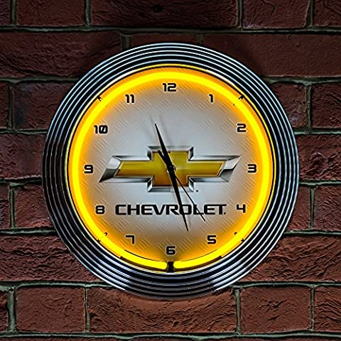 YELLOW CHEVY BOWTIE CLOCK - Real Neon (not LED)