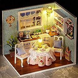 TUANMEIFADONGJI DIY Holz Puppenhaus Kabine Glück Küche Kits Handmade Puppenhaus Miniatur Möbel Zubehör - Kreatives Geschenk für Jungen und Mädchen (mit Staubschutzhülle, ohne Batterie und Werkzeuge)