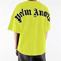 Maglietta da uomo e da donna Palm Angel a maniche corte, casual, con scollo rotondo, in cotone (Men Black, S)