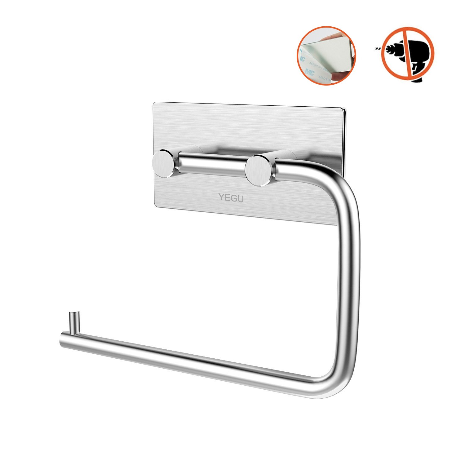 Yegu 3m Self Adhesive Toilet Roll Paper Holder Brushed Stainless