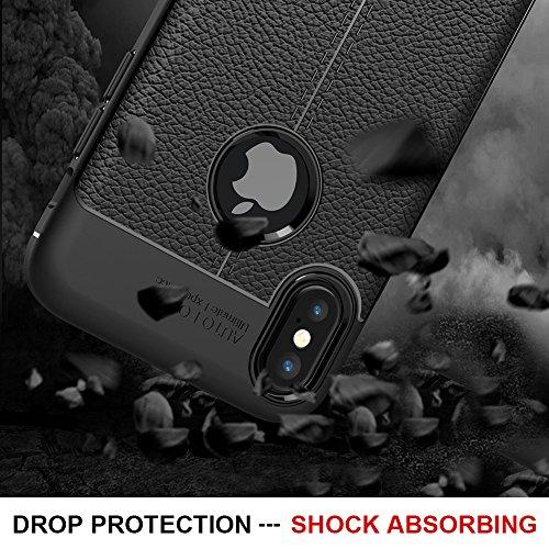 Coque Apple iPhone X / iPhone 10, MSVII® Anti-Shock Silicone TPU Souple Coque Etui Housse Case et Protecteur écran Pour Apple iPhone X / iPhone 10 - Bleu JY90043 Noir