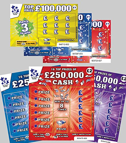 6 X World's Most Realistic - Fake Joke Prank Winning Scratch Cards - Every card appears to win from £50,000 to £250,000