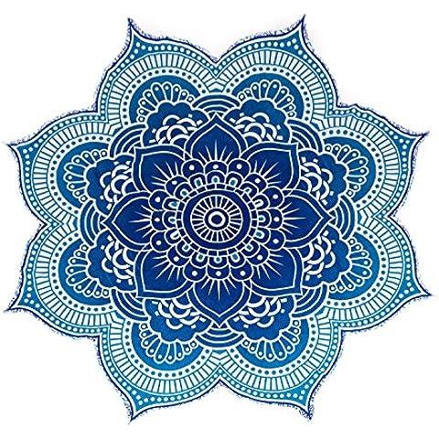 Colección única por Rawyal Crafts tamaño grande redondo de flor de loto Mandala tapiz, indio Hippy Star Mandala de flores de 100% algodón al aire libre playa Roundie, flores diseño de círculos/forma