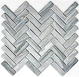 Mosaik Fliese Keramik Fischgrät Steinoptik grau für BODEN WAND BAD WC DUSCHE KÜCHE FLIESENSPIEGEL THEKENVERKLEIDUNG BADEWANNENVERKLEIDUNG Mosaikmatte Mosaikplatte
