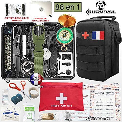 Kit de survie d'urgence 88 en 1 [ Nouveau Model 2019 ] Avec Trousse de Premiers Secours,Couteau de Survie,Lampe de Poche,Allume...