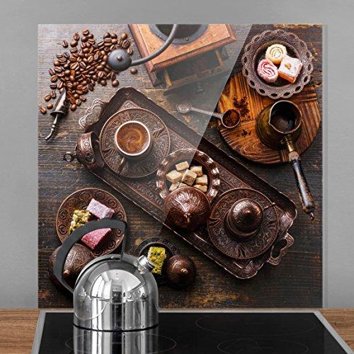 Bilderwelten Spritzschutz Glas - Türkischer Kaffee - Quadrat 1:1, Wandbild Küchenrückwand Küchenspiegel Küchenspritzschutz Glasrückwand Küche Spritzschutz Herd, Größe HxB: 59cm x 60cm (Brauner Glas Zucker)