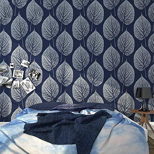 Blätter Blau-tapeten (XFDJYA Tapete Blaue Blätter Tapeten Wohnkultur wasserdichte Tapete Für Wohnzimmer Schlafzimmer Studie Hotel Tv Hintergrund, blau, 5,3 ㎡)