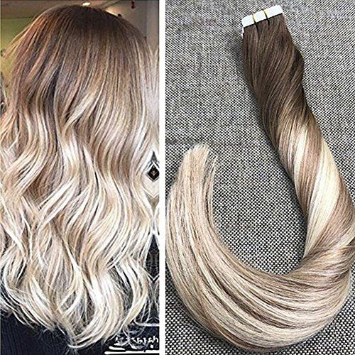 Ugeat 50g tape in hair extensions 22 pollici skin weft estensioni brasiliano remy dei capelli #4/18/22 off black a sunkissed blonde e platinum blonde
