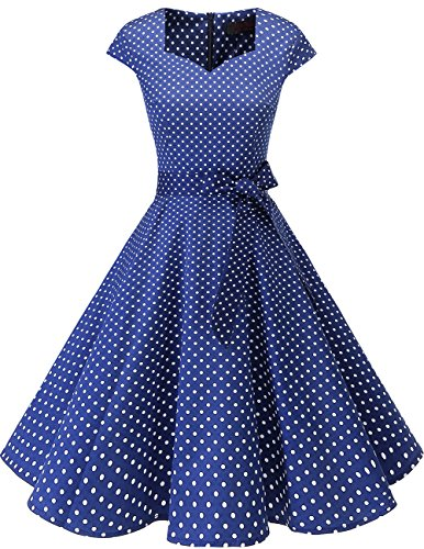 Dresstells Vintage 50er Swing Party kleider Cap Sleeves Rockabilly Retro Hepburn Cocktailkleider Navy Small White Dot M