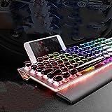 Technologie à la vapeur clavier rétro métal axe vert jeu coloré rétro-éclairage filaire clavier de bureau de bureau métallique,blanc