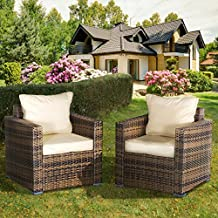 Oseasons OSKMOXMSET-2CHAIR-CS Rattan Modular Chair - Cappuccino (Set of 2)