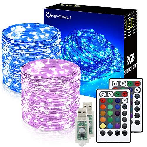 Preisvergleich Produktbild Onforu 2er Pack 10M USB LED Lichterkette RGB | 100er LED Silberdraht Lichterketten mit Fernbedienung und Timer | IP65 Wasserfest | 16 Farben für Innen- und Außenbeleuchtung Weihnachten Party Haus Deko