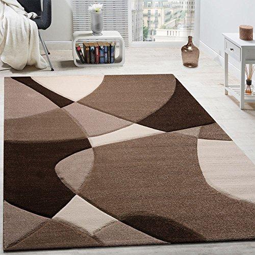 Paco Home Tappeto di Design Moderno Motivo Geometrico Taglio Sagomato Marrone Crema Beige, Dimensione:160x230 cm