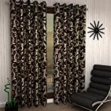 Home Sizzler Eyelet 4 Piece Polyester Window Curtain Set - 5ft, Brown