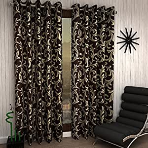 Home Sizzler Eyelet 2 Piece Polyester Long Door Curtain Set - 9ft, Brown