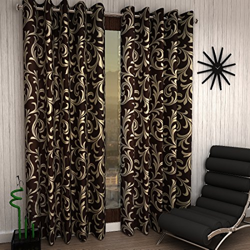 Home Sizzler Modern 2 Piece Eyelet Polyester Window Curtain Set...