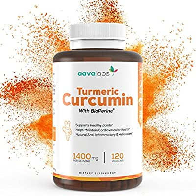 Turmeric Curcumin Supplement [ 1400 mg ] By Aava Labs - 95% Curcuminoids - Highest Potency With Patented BioPerine - Powerful Natural Antioxidant, Anti-Aging & Anti-Inflammatory - Vegan - 120 Veggie Caps. by Aava Labs