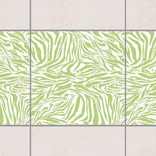 Fliesen Bordüre - Zebra Design Spring Green 20cm x 20cm, Setgröße:20teilig