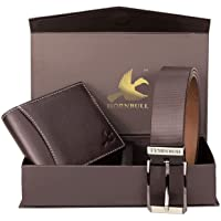 Hornbull Gift Hamper for Men - Brown Wallet and Brown Belt Men's Combo Gift Set 4595