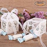 GHB Lot de 100pcs Boîte à Dragées Contenant Dragées Ballotin en Papier pour Marriage/Baptême/Anniversaire...