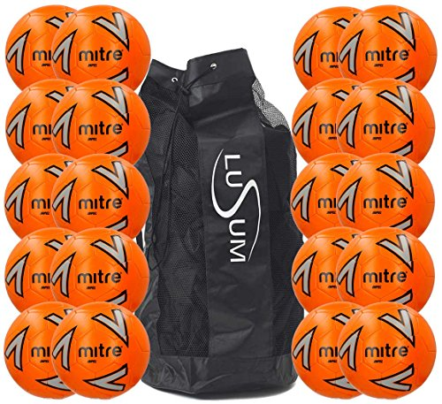 Impel Mitre Orange Training Footballs 20 Ball Pack with a Heavy Duty Lusum Ball Bag  Sizes Can Be Mixed  10 x Size 3 and 10 x Size 5