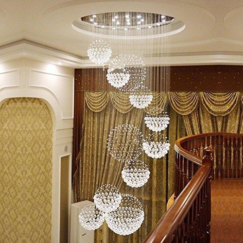 GUOCAIRONG® Creative Wohnzimmer Kronleuchter Hotel Engineering Lampen Villa Bar Lampe 11 Kugeln Doppel Treppe Lange Kronleuchter , A (Doppel-kugel - Stil)
