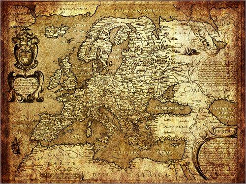 Poster 40 x 30 cm: Europa 1600 von Michaels Antike Weltkarten - hochwertiger Kunstdruck, neues Kunstposter