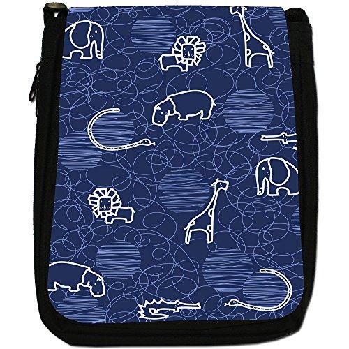 Giraffa, Leone, Elefante e Ippopotamo disegno Medio Nero Borsa In Tela, taglia M Blue
