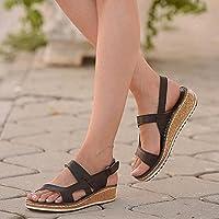 DZQQ Femmes Sandales été 2021 Femmes Chaussures Femme Peep-Toe Wedge Sandales Confortables Sandales Plates Femme…