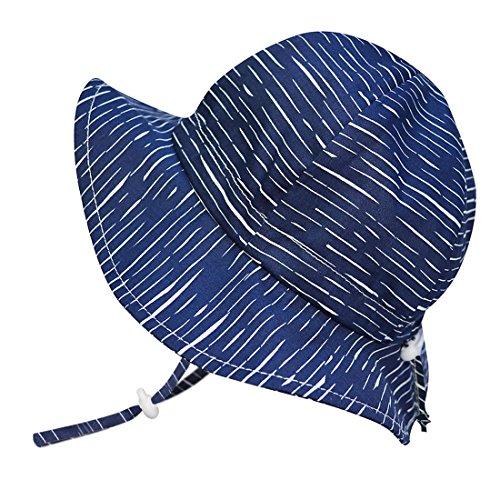 Atmungsaktiver Sonnenhut fürs neugeborene Baby (Junge) 50 UPF, verstellbar & faltbar (Klein: 0-9 m, Schlapphut: Marine Wellen) (Vorne Riemen Verstellbarer)