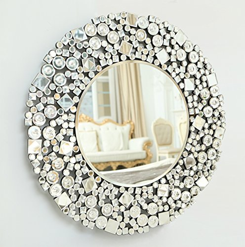 Richtop Large Wall Mirror With Bevelled Round Silver Jewel Mosaic Frame Home Decorative Mirror 27.56x27.62''(70X70CM)