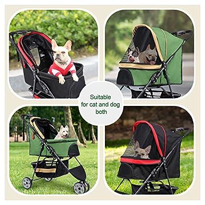 Pet Travel Stroller Three Wheels Cat Dog Pushchair Trolley,Puppy Carrier,Shockproof,Single Front Wheel 360° Rotation… 8