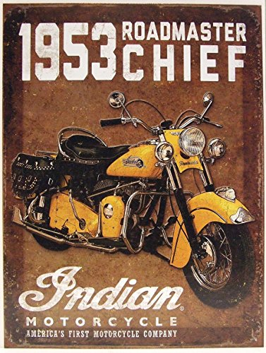 SHAWPRINT 1953 Indian Motorrad Roadmaster Chief Metall Werbung Wand Schild Retro Art Chief Wand