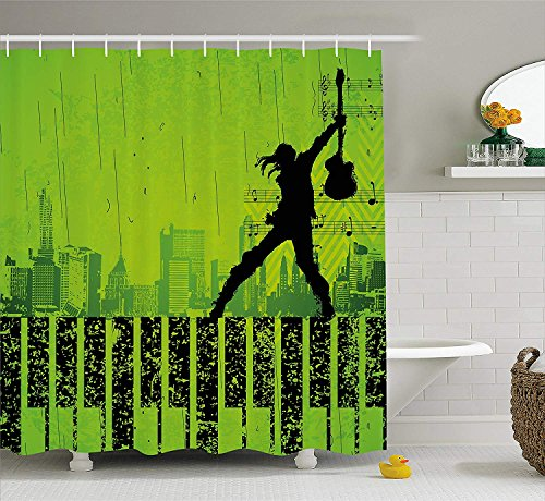 JIEKEIO Popstar Party Shower Curtain, Music in The City Theme Singer with Electric Guitar on Grunge Backdrop, Fabric Bathroom Decor Set with Hooks,60 * 72inch, Lime Green Black - Popstar Guitar