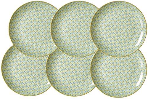 Ritzenhoff & Breker Kuchen-und Frühstücksteller-Set Macara, 6-teilig, 21 cm Durchmesser, Grün Teller, Porzellan, 21 x 21 x 2 cm, 6-Einheiten