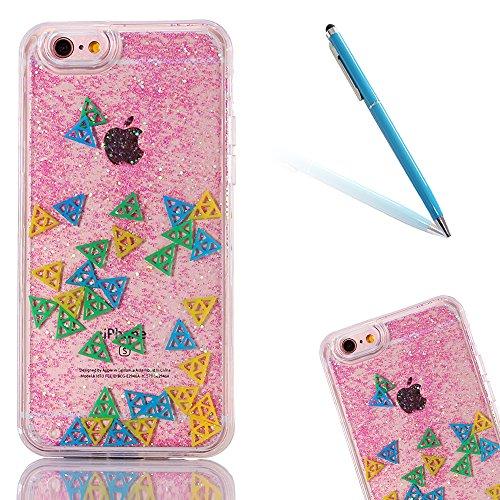 """iPhone 6s Hülle, iPhone 6 Handytasche, CLTPY 3D Dynamisch Treibsand Flüssige Fließend Glitzer Sparkle Diamant Hartplastik & Soft TPU Hybrid Transparent Schale Case für 4.7"""" Apple iPhone 6/6s + 1 x Gri Rosa Dreieck"""