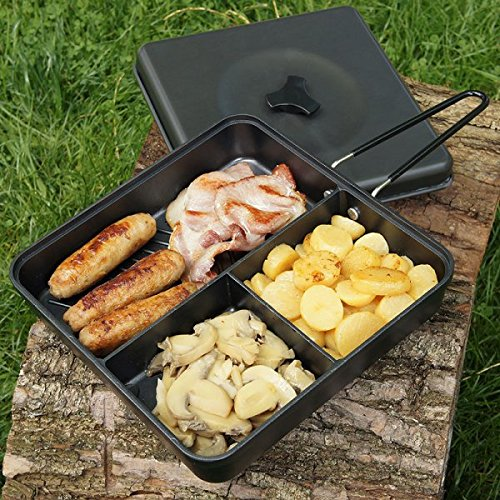 3 Way Multi Section Frying Pan with Lid and Folding Handle Carp Fishing Hiking Camping NGT
