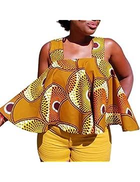 FAMILIZO Camisetas Sin Manga Mujer Camisetas Mujer Verano Floral Blusa Mujer Estilo Africano Verano Camisetas...