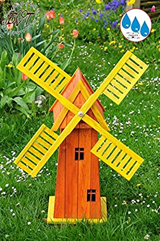 Beautiful Classical Baby Classic Windmill In Many Colours, Wood Garden Windmill 100 cm ECK100 GE OS with Balcony Trim Windows Fully Functional Yellow, Beautiful Details, Wind Cross Garden Decorative Outdoor Flag Pinwheel O. O. Outdoor Lighting Solar Light Solar Lighting RGB LED Strip Light 1 M tall light brown glaze Lacquered Orange Wings – Yellow Upper Body for Indoors and Outdoors, Made from High Quality Beautiful Garden