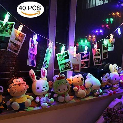 LED Foto Clips Lichterketten, NexLook 40 USB Powered Sternenlicht Licht Wandde für hängende Fotos Gemälde Bilder Karte und Memos für Zuhause, Party, Dekoration, Hochzeiten (Farbe)