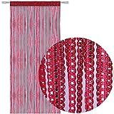 AIZESI Fadengardine Rot Wandvorhang Fadenvorhang Rot String Tür Vorhang mit ösen Insektenschutz Saite für Türen Trennwand oder Fenster Vorhang Panel 90x200cm(Rotwein)