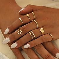 Mayelia - Set di 8 anelli in oro con cristalli, per donne e ragazze