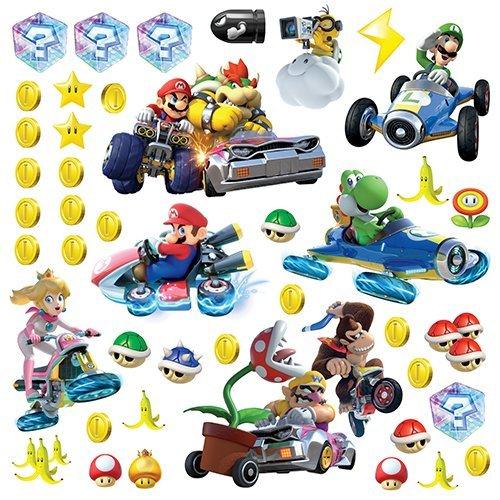 RoomMates RM - Mario Kart mit Freunden Wandtattoo, PVC, bunt, 29 x 13 x 2.5 cm