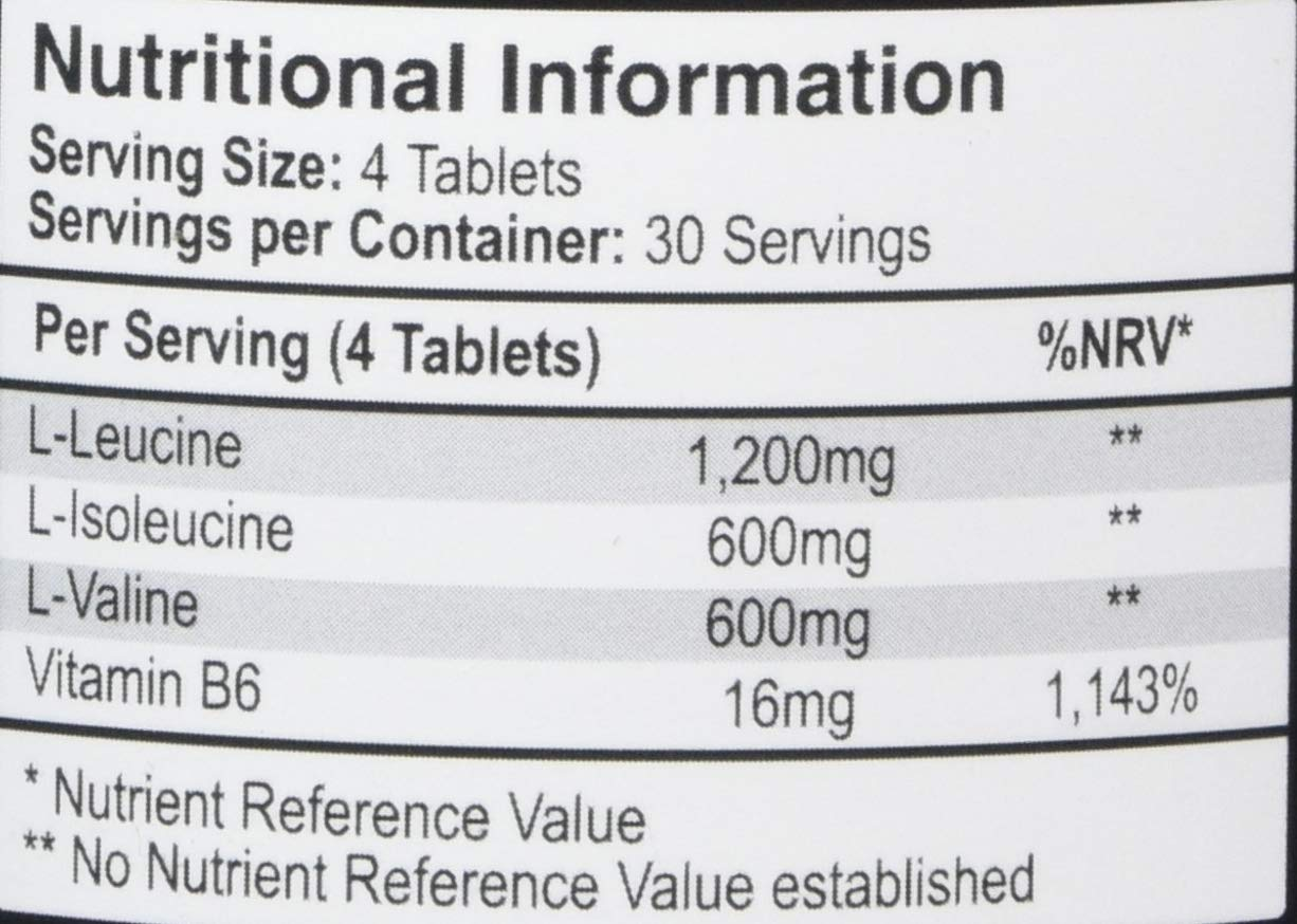 61hRN3mndoL - BCAA Tablets - 2400mg BCAAs x 1 month supply (30 daily servings) - High Strength in B6 to help reduce Fatigue - UK Made - Vegetarian & Vegan Tablets