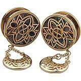TENDYCOCO 1 paio di dilatatori per orecchio, a forma di fiore, con luna, in acciaio inox, orecchini a lobo (oro)