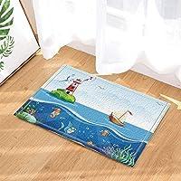 High Quality Cdhbh Cartoon Sea Decor Schiff Fische Und Leuchtturm Bad Teppiche  Rutschhemmend Fußmatte Boden Eingänge Outdoor Innen