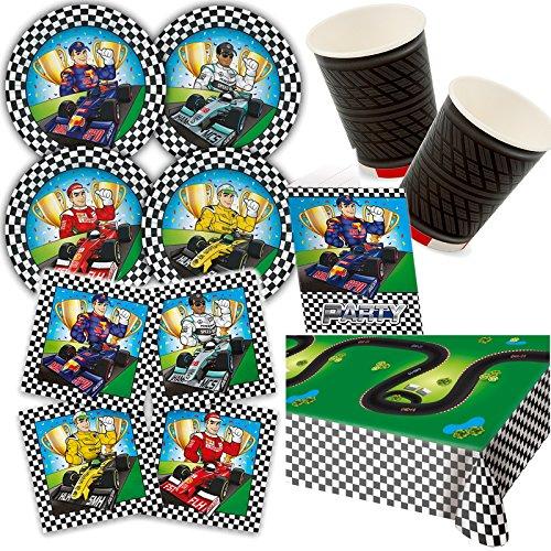 (Carpeta 97-teiliges Party-Set * Formula * für Kindergeburtstag und Mottoparty mit Teller + Becher + Servietten + Einladungen + Tischdecke + Luftschlangen + Ballons // Dekoration Rennen Rennwagen)